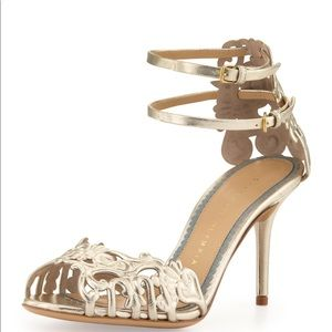 NIB Charlotte Olympia Margherita Metallic Heels